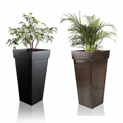 Zinc Galvanised Tall Flared Square Patio Planter Metal Plant Flower Pot Garden • 88.99£