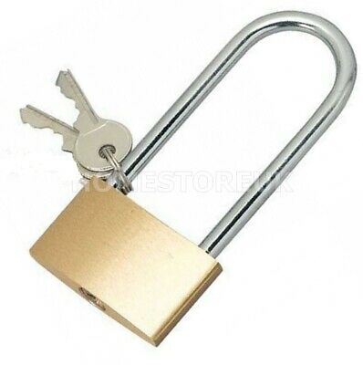 £2.95 • Buy Long Shackle Brass Padlock Lock Security Locker Chest Hasp Shed With Spare Keys
