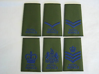Royal Signals Rank Slide In Olive  Royal Blue Embroidery British Army  • 2.99£
