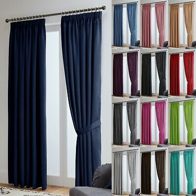 Blackout Curtains Thermal Pencil Pleat Tape Top - Energy Saving + Tie Backs • 16£