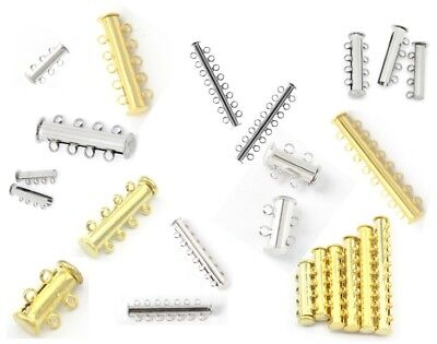 Multi Strand Magnetic Slide Clasps - 2 3 4 5 6 7 8 9 10 Strand Clasp Silver Gold • 2.79£