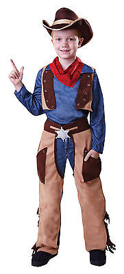 Cowboy Boys Kids Childrens Costume Outfit Woody Western Fancy Dress Age 4 - 9 • 12.88£
