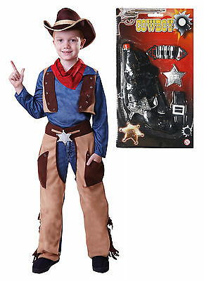 Cowboy Boys Kids Childrens Costume Woody Outfit Fancy Dress With GUN Age 4 - 9 • 15.02£