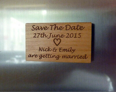 AU89.97 • Buy Save The Date Magnets : Personalised Wood Wedding Save The Date Fridge Magnets
