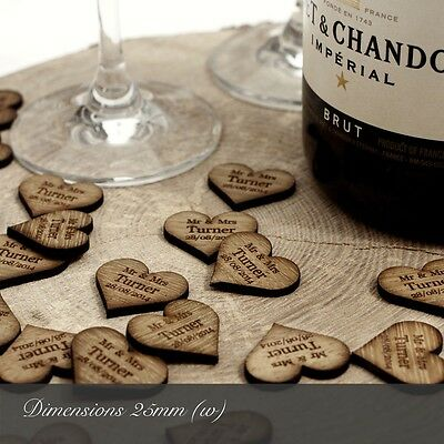 £11.99 • Buy Personalised Wooden Heart Table Decorations, Rustic, Vintage Wedding Favours.