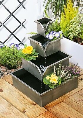 Silver Cascading Planter Water Feature 4 Tier Herbs And Flowers Wheaton • 87.99£