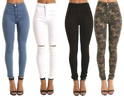 Skinny Jean Jeggings High Rise Trousers Slash Womens Hot Pants Uk S M 4 To 22 • 11.50£