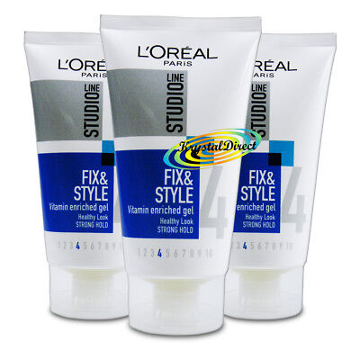 £11.79 • Buy 3x L'oreal Studio Fix & Style Vitamin Enriched Strong Hold Hair Gel 150ml