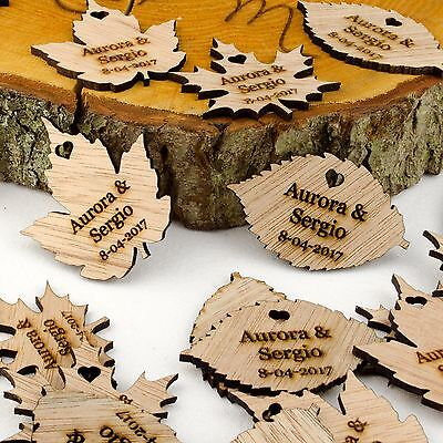 £27.49 • Buy Personalised Wooden Leaf Table Decorations. Rustic Or Vintage Wedding Favours.