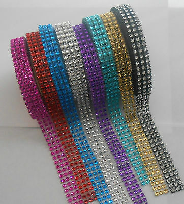 15mm X 3m Diamonte Diamante Ribbon Cake Craft Card Making 8 Colours To Choose • 2.99£