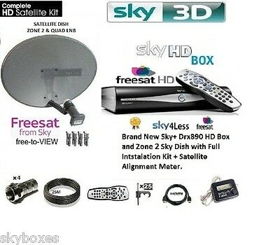 Sky Hd Freesat Drx890 Satellite Box Including Zone 2 Dish Octo Full Install Kit • 119.99£