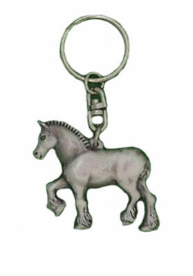English Pewter Handcrafted Shire Horse Keyring In Gift Pouch Made In UK  • 4.95£