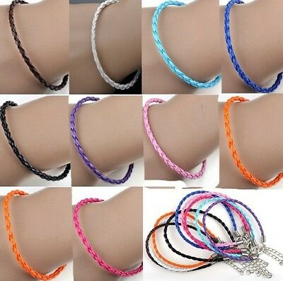 £1.69 • Buy 3mm Braided Leather Anklet / Bracelet, Friendship/Surf Band, Choice Of Colours