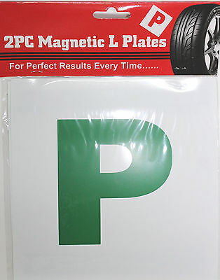 2 X GREEN MAGNETIC NEW DRIVER 'P' PASS PLATES - NEW DRIVER ALERT  • 1.69£