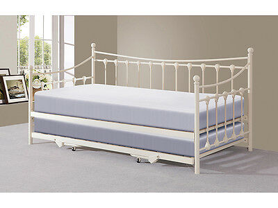 £239.99 • Buy Guest Bed Traditional Victorian Metal 3FT Day Bed With Trundle Black Or Ivory