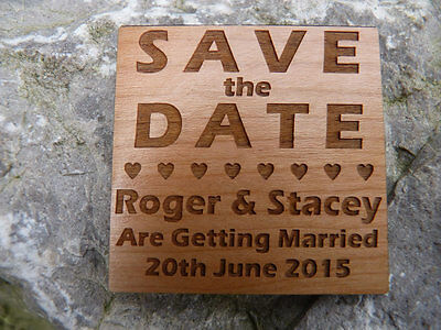 AU5.38 • Buy Personalised Wooden Save The Date Wedding Fridge Magnets
