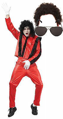 Michael Jackson Thriller Fancy Dress 80s Costume Outfit With AFRO & SUNGLASSES • 28.12£