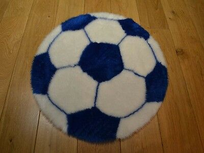 New Blue & White Football Shaped Small Size Rugs Fluffy Bedroom Floor Mats Cheap • 12.90£