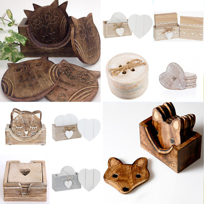£9.75 • Buy Wooden Coasters Wooden Owl Fox In Box Holder Coffee Tea Drinks Chic Shabby