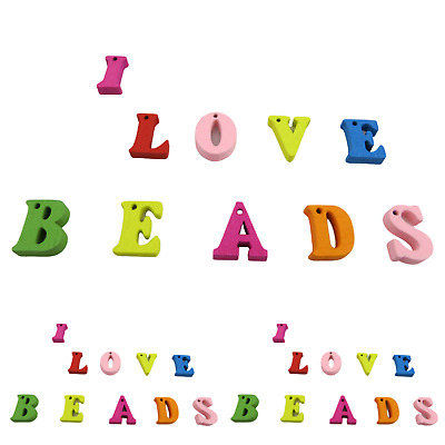 £3.99 • Buy New Arrival Multi-coloured A-z Alphabet Letter Wooden Beads For Jewellery Making