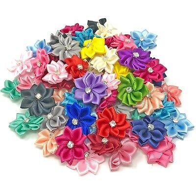 25mm Satin Ribbon Flowers With Rhinestone Diamante Centre, Craft Flowers • 2.99£