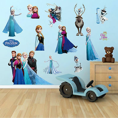 Frozen Disney Queen Elsa Olaf Childrens Nursery Stickers Decor Large Wall Multi • 8.95£