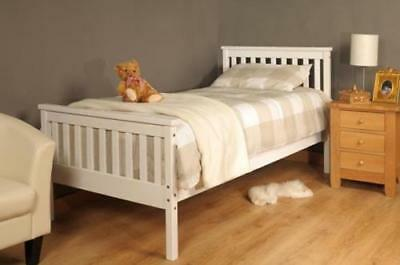 Single Bed In White 3ft Single Bed Wooden Frame White • 63.99£