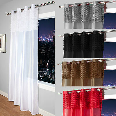 £11.99 • Buy Elsa Faux Silk Eyelet Curtain Panel With Luxurious Fur Top- Net & Voile Curtains