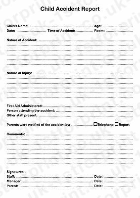 £7.99 • Buy Child Accident Report Pad A4 Duplicate 2 Part NCR Book