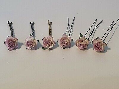 £2.99 • Buy 6 Rose Hair Pins Grips Flower Wedding Bridesmaid Accessories All Colours