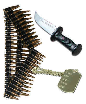 AU23.88 • Buy Army Mens 80s Fancy Dress Soldier Costume Outfit Knife Dog Tag Bullet Belt