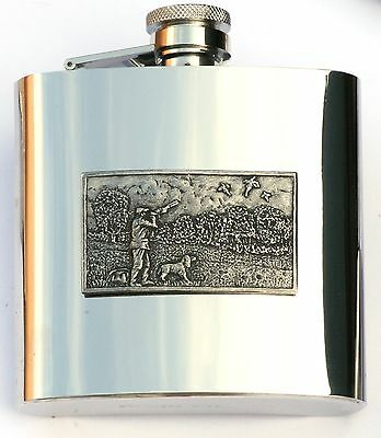 £28.99 • Buy Shooting Scene Pewter Plaque Stainless Steel Hip Flask  NEW FREE ENGRAVING 331