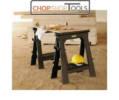 Stanley STA170713 Folding Saw Horse With Shelf Twin Pack Trestles STST1-70713 • 41£