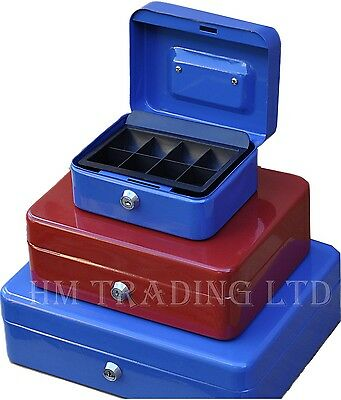 £6.99 • Buy Metal Steel Petty Money Cash With Coin Tray Box Bank Safe Security Lock 2 Keys