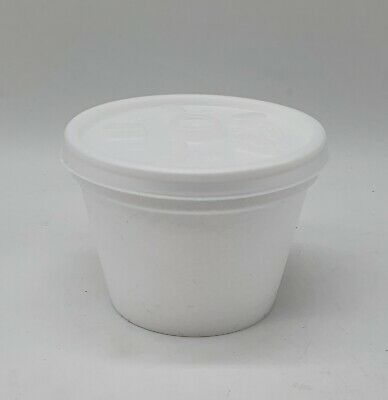 50 X 4oz POLYSTYRENE FOAM POTS TUBS CUPS FOOD DRINK CONTAINERS + 50 LIDS • 6.95£
