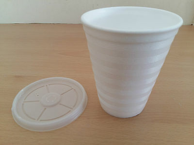 10oz Foam Polystyrene Cups With Lids Disposable Hot Cold Drinks Juice Tea Cheap! • 6.29£