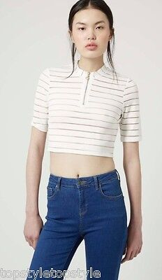 £9.99 • Buy TOPSHOP  WHITE MESH STRIPE CROP TOP/TEE With GOLD ZIP PLACKET SIZES 6-14
