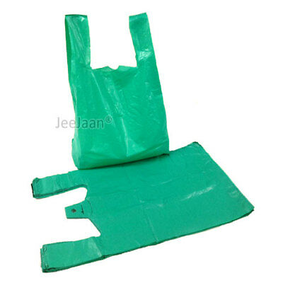 Strong GREEN Vest Plastic Carrier Bags 11x17x21 Large 4**** Recyle 22 Micron • 7.40£