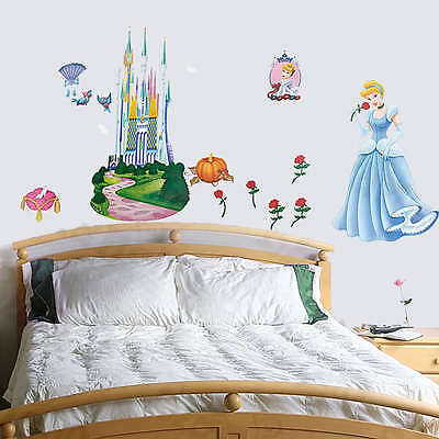 Disney Princess Childrens Wall Stickers Cinderella Removeable Kids Room ZS001A/B • 7.99£