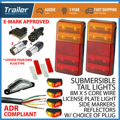 AU69.76 • Buy LED TRAILER TAIL LIGHT KIT PAIR PLUG, 8m 5 CORE WIRE CARAVAN BOAT UTE Waterproof