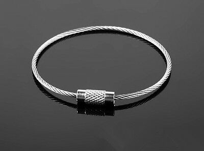 £1.99 • Buy  Stainless Steel Screw Locking Wire Keychain Cable Keyrings Key Holders