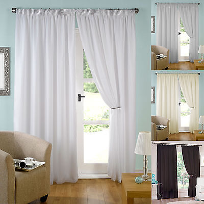 £22.50 • Buy Lined Voile Curtains Pair Of Ready Made Pencil Pleat 3  Tape Top.Various Colours