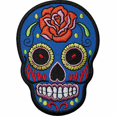 £2.79 • Buy Blue Skull Rose Flower Embroidered Iron / Sew On Patch Clothes Badge Transfer