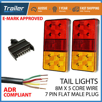 AU39.85 • Buy LED TRAILER TAIL LIGHT KIT PAIR PLUG 8m 5 CORE WIRE CARAVAN BOAT UTE Waterproof
