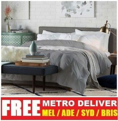 AU179 • Buy Carona Double Queen King Size Grey Beige Brown Linen Fabric Wooden Bed Frame