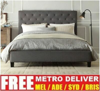 AU219 • Buy Chester Double Queen King Size Grey / White / Charcoal  Fabric Bed Frame