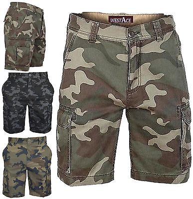Mens Army Casual Work Cargo Combat Camouflage Shorts Cotton Chino Half Pant Camo • 11.99£