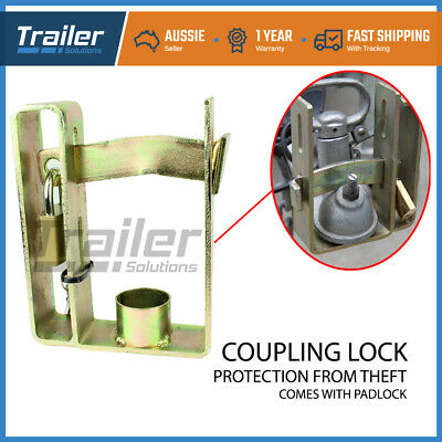 AU19.80 • Buy Trailer Hitch Coupling Lock Heavy Duty 2 Stage Universal Security + Padlock
