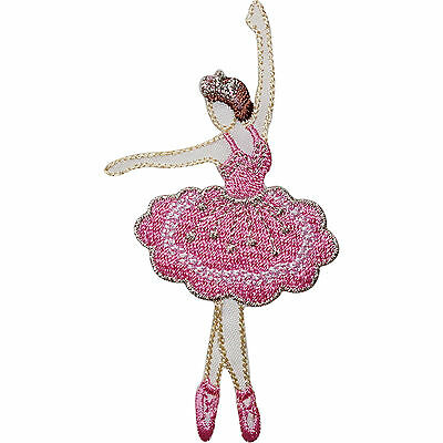 Ballerina Embroidered Iron Sew On Patch Pink Ballet Dress Leotard Tutu Bag Badge • 2.79£