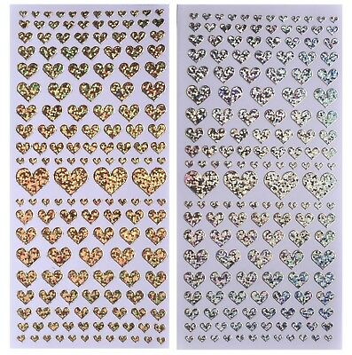 AU2 • Buy SHIMMER HEARTS Peel Off Stickers Love Heart Valentine Card Making Silver Red
